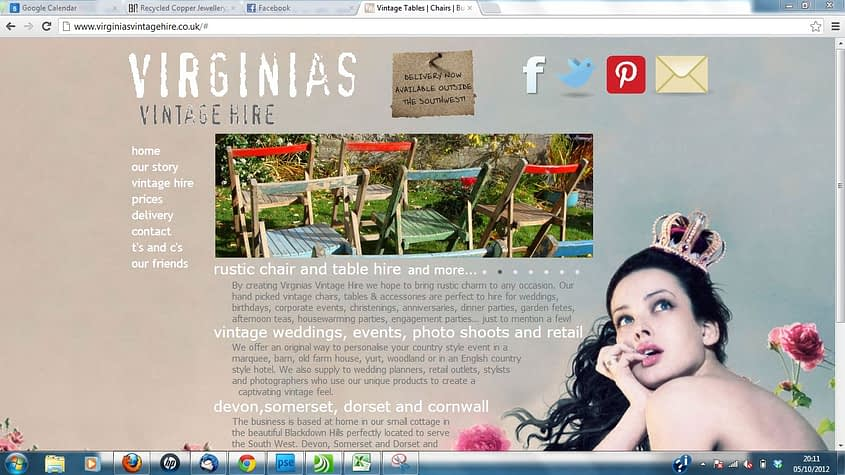 Virginias Vintage - new wordpress website and search engine optimisation by Complete Marketing Solutions, Bideford, North Devon
