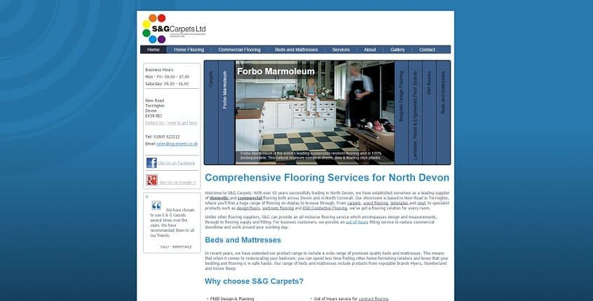 s and g carpets torrington website optimised by complete marketing solutions in North Devon