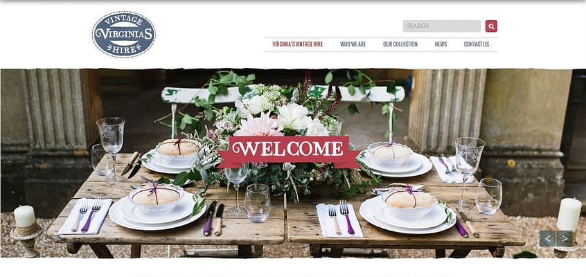 Virginias Vintage hire website built by complete marketing solutions web design