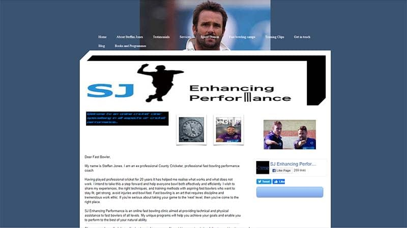 Fast Bowling Coaching E-commerce Website Design Somerset