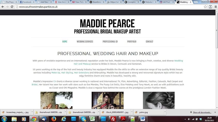 south west makeup artist - new wordpress website redesign services by Complete Marketing Solutions, North Devon