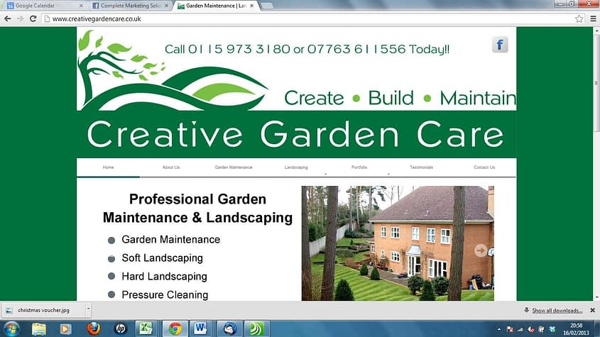 Creative Garden Care - new wordpress website and search engine optimisation by Complete Marketing Solutions, Bideford, North Devon