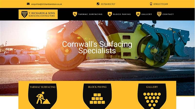Tarmac Company Website Design Cornwall