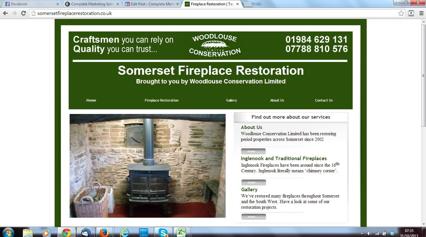 woodlouse fireplaces social media marketing, SEO and website services by Complete Marketing Solutions, North Devon